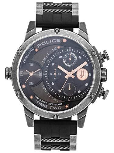 Police Orologio Analogueico Quarzo Unisex Adulto con Cinturino in Silicone PL15982JSQ.39P