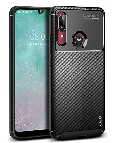 JundD Kompatibel für Motorola E6 Plus Hülle, [Carbon Fiber Pattern] [Leichtgewichtig] [Fallschutz] Stoßfest TPU Slim & Anti-Kratzer Weich Hülle für Moto E6 Plus - Schwarz