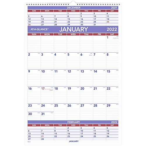 2022 Wall Calendar by AT-A-GLANCE, 15-1/2' x 22-3/4', Large, 3-Month, Wirebound (PM628)