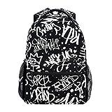 KASMILN Schultaschen,Tags Seamless Pattern Mode Graffiti,Rucksäcke für Männer und Frauen
