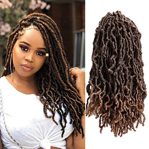 7 Packs Soft Faux Locs Crochet Braid Hair 14 Inch Pre-looped Handmade Dreadlocks Extensions Synthetic Curly Wavy Goddess Faux Locs Crochet Braiding Hair African Roots 18 Strands/pack (#1B/27)