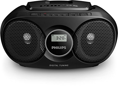 Philips CD Player AZ215B/05 CD Player Radio (Dynamic Bass Boost, FM Stereo Tuner, CD Shuffle/Repeat Function, 20-Track CD Programmable, 3.5-mm Audio-In) Black