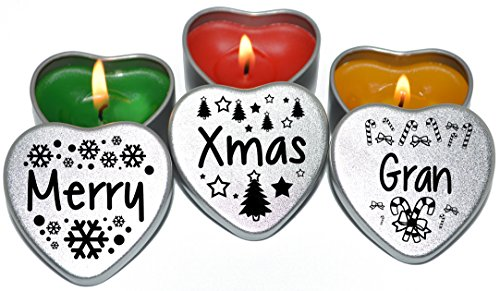 Merry Christmas Gran Xmas Gift. Set of 3 Silver Mini Heart Tin Tealight Style Scented Candles Secret Santa and Christmas Place Settings. Each tin is 45x45x25mm. (Gran)