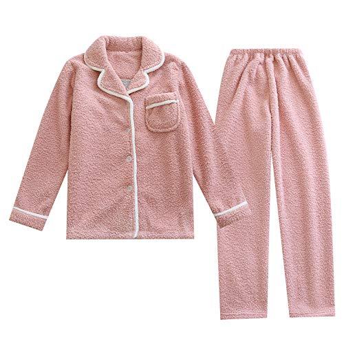 Loungewear para mujer cómodo, pijama de forro polar coral para mujer, más chaqueta de forro polar de manga larga -M_Female A, cómodos conjuntos de pijama de invierno cálido y suave