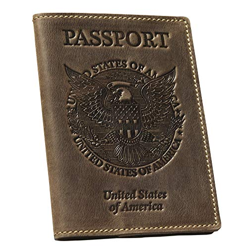 Leather Passport Holder Cover – Vintage US Passport Holder Case (Brown)