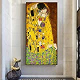 HYFBH Impresión en Lienzo Carteles artísticos Gustav Klimt El Beso Pinturas al óleo clásicas Arte Famoso Cuadro en Lienzo de Pared Decoración para el hogar 80x160cm (32x63in) Sin Marco