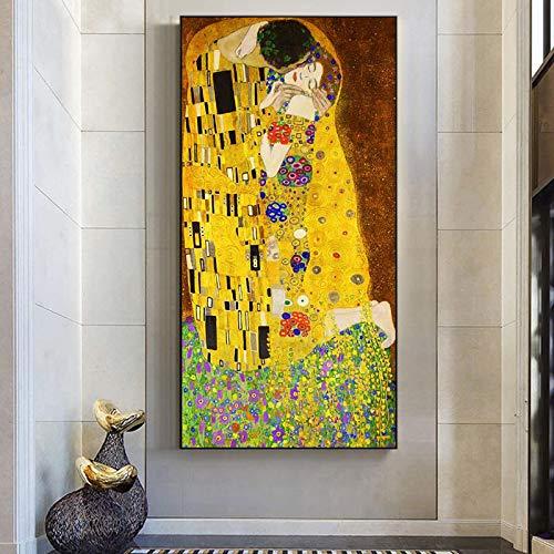 HYFBH Impresión en Lienzo Carteles artísticos Gustav Klimt El Beso Pinturas al óleo clásicas Arte Famoso Cuadro en Lienzo de Pared Decoración para el hogar 40x80cm (16x32in) Marco Interno