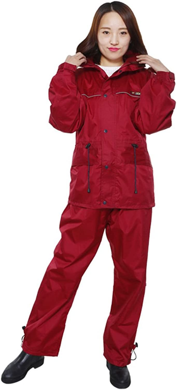 ZEMIN Rain Jacket Coat Raincoat Poncho Windbreaker Waterproof Unisex Couples Double Layer Body Sculpting Polyester, 2 Sizes, 2 colors Available Waterproof (color   Red, Size   XXL)