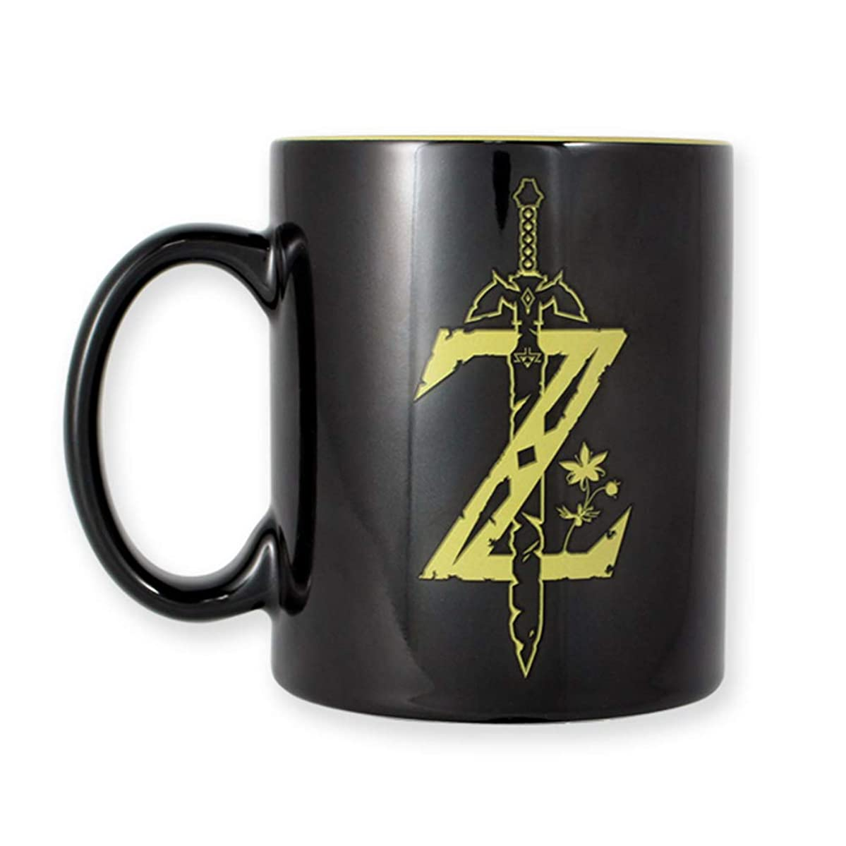 JUST FUNKY The Legend of Zelda (LOZ), Black Ceramic Coffee Mug, with Two Tone Colored Artwork and Inside Printing, 16 oz
