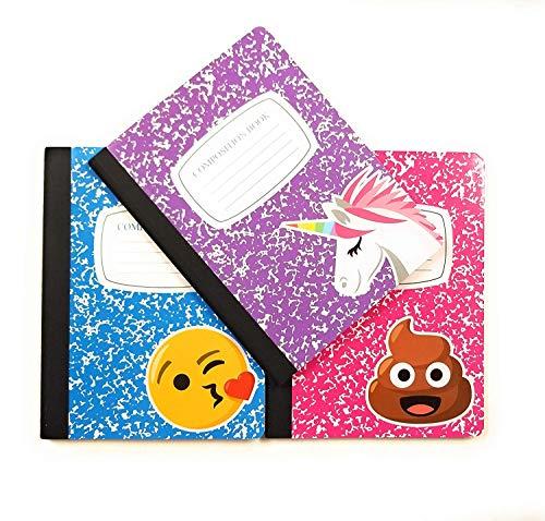 Emoji-Notizbücher, breit, liniert, 3er-Set – Poo, Unicorn & Kiss