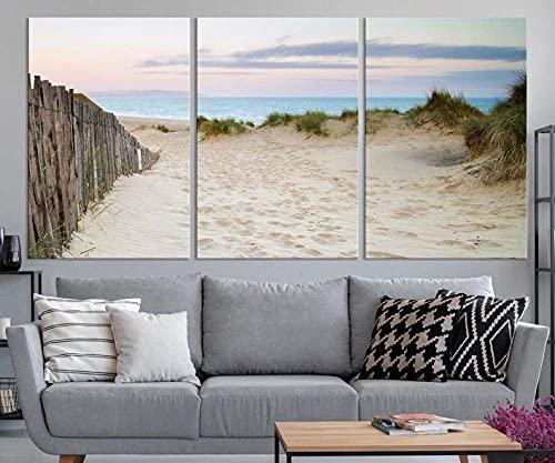 QUANQUAN Stampe E Quadri su Tela 3 Pezzi Pittura Percorso Spiaggia Grande Modulare per Camera da Letto Moderna Soggiorno Parete Casa HD Murale da Parete Casa Decor Arte