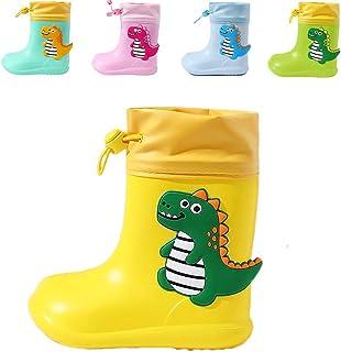 Bottes de Pluie en Caoutchouc Bottes de Wellington Mixte Enfant pour Fille et Garçon imperméable antidérapant Chaussures d...