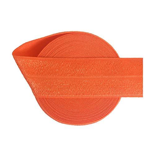 2 5 10 Yard 1' 25Mm Solid Shiny Fold Over Elastics Spandex Satin Bands Tape Hair Tie Headband Dress Sewing Trim Autumn Orange 10 Yards