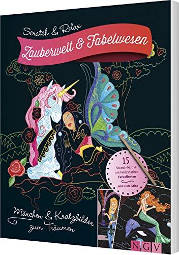 Scratch & Relax - Zauberwelt & Fabelwesen: 15 Scratch-Motive mit fantastischen Farbeffekten - inkl. Bambus-Stick: Einhorn, Drache, Elfe: 15 Scratch-Motive mit fantastischen Farbeffekten