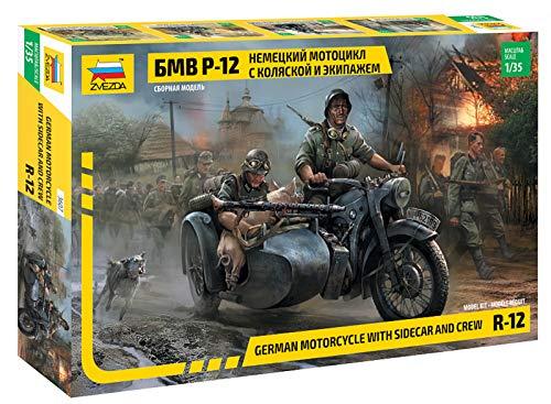 Zvezda 500783607 - 1:35 WWII Deutsche R12 Seitenwagenkrad (2)