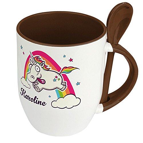 printplanet Löffeltasse mit Namen Karoline - Motiv Verrücktes Einhorn - Namenstasse, Kaffeebecher, Mug, Becher, Kaffeetasse - Farbe Braun