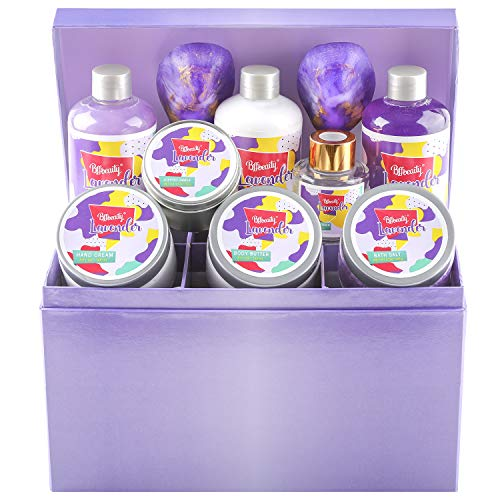 Bff Beauty Bath Set-12pcs Lavender Spa Bath Set with Jewellery Box Gift Include Bath Bomb, Bath Salt, Bubble Bath, Scented Candle,Body Lotion Relaxation Gifts for Women Birthday