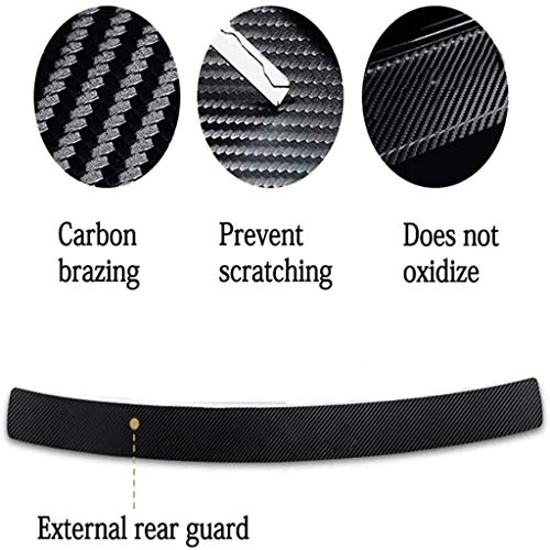 XXSDDM Car Carbon Fiber Rear Bumper Protector,for Renault TRIBER Auto Trunk Plate Tail Trim Anti-Scratch Anti-Collision Protective Car Styling Accessories