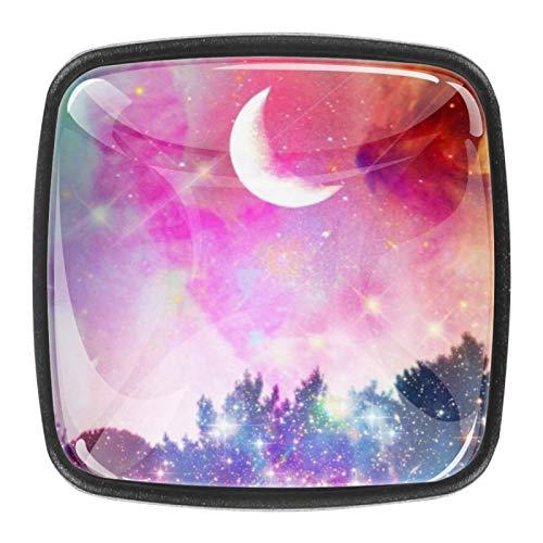 Celestial Starry Night and Moon - Pomelli da cucina, per cassetti, cassetti, cassetti, porte, per ufficio, bagno, credenze, credenze, confezione da 4