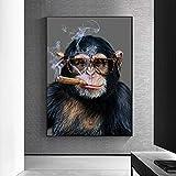JIANGCJ Carteles de Impresiones en Lienzo de Animales, Pintura de Mono chimpancé, imágenes artísticas de Pared de cigarro para Sala de Estar, decoración del hogar, 30x50cm sin Marco