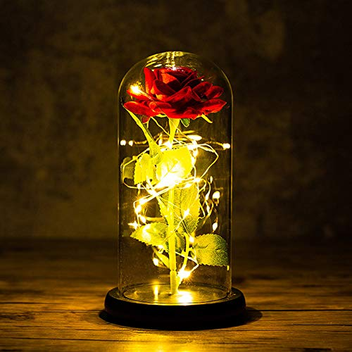 La Bella y La Bestia Rosa Encantada,Rosa de Seda Roja Elegante en...