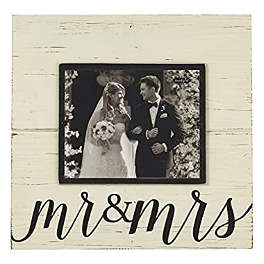 Mud Pie Distress Wood Mr. and Mrs. Deluxe Horizontal Frame, 8 x 10
