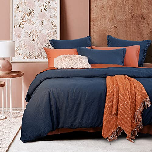 """PHF 100% Linen Duvet Cover Set King Size (106""""x 92""""), 3PCS Washed French Flax Comforter Cover Set, Comfy Luxurious Duvet Cover with Pillow Shams Bedding Collection, Navy Blue"""