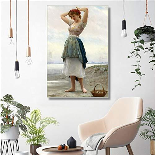 Danjiao Leinwand Malerei Kalligraphie Schönheit Porträt Nordische Wohnkultur Prinzessin Sissi Poster Drucke Wandkunst Bild Wohnzimmer Wohnzimmer 60x90cm