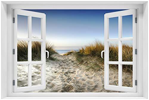 Wallario Glasbild mit Fenster-Illusion: Motiv Weg durch die Dünen zum Strand am Meer - 60 x 90 cm mit Fensterrahmen in Premium-Qualität: Brillante Farben, freischwebende Optik