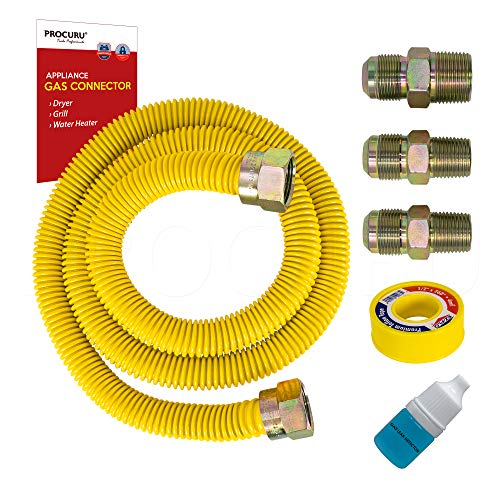 PROCURU 1/2' OD x 72' Long Weatherproof Stainless Steel Gas Flex Connector Kit with Yellow SafeGuard Coating for Dryer, Water Heater, Bbq Grill