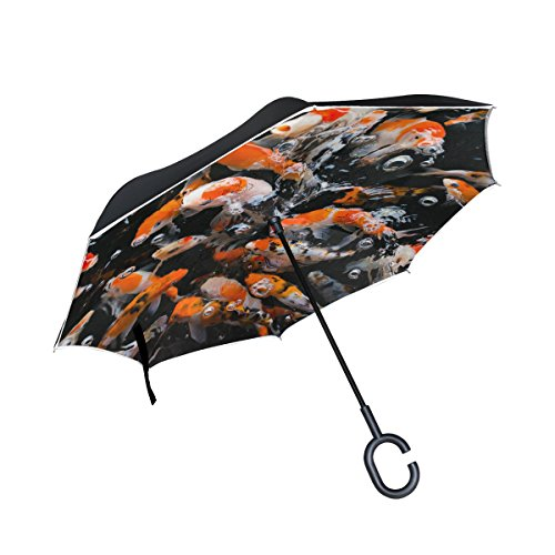 XiangHeFu double layer Inverted Reverse ombrelli giapponese Fancy Koi Carp fishes pieghevole antivento protezione UV Big dritto per auto con manico a C