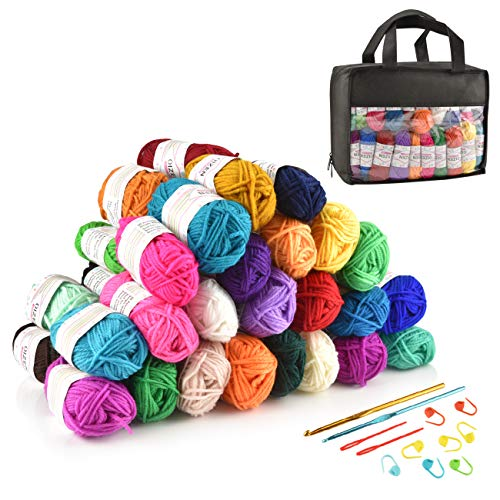 Hand Knitting Yarn Häkelgarn 40er Pack, 30 Meter(15g) pro Rolle, Bunt, Acryl Wolle Set mit 2 Häkelnadeln, Nadelstärke 4,0-5,0, Handstrickgarn Baumwollgarn für Häkeln und Kunsthandwerk