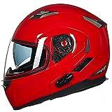 ILM Bluetooth Integrated Modular Flip up Full Face Motorcycle Helmet Sun Shield Mp3 Intercom (XL, RED)