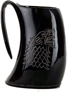 Buddha4all Game of Thrones Stark House Viking Drinking Horn Mug Wolf Carved tankard for Beer Wine Mead ale with Horn Shot Glass(2 oz)