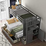 SOFTSEA Twin Over Twin Bunk Beds with Stairs and Drawers for Kids, Wooden Twin Over Full Bunk Bed with Storage Cabinet and Convertible Bottom Bed, Bedroom Furniture (Gray)