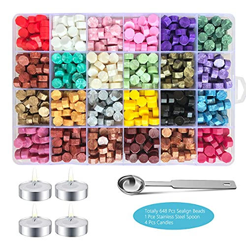 648 Pieces Sealing Wax Beads for Wax Seal Stamp, Wax Seal Beads with 4 Candles, 1 Spoon, Perfect for Embellishment of Cards Envelopes, Wedding Invitations, Wine Packages, Gift Wrapping