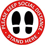 Social Distancing Floor Decals - Safety Floor Sign Marker - Maintain 6 Foot Distance - Ant...