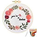 ORANDESIGNE Funny Embroidery Kit for Beginners, Stamped Cross Stitch Kits for Beginners Adults Patterned Needlepoint Embroidery Hoops Cloth Color Thread Floss Flowers Plants Cactus