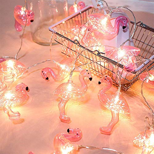 DOMESTAR Pink Flamingo Lights, Outdoor LED String Lights 3m Set of 20 LED Battery Operated Flamingo Fairy Lights Tropical Themed Strung Light for Wedding Garden Decoration by DomeStar