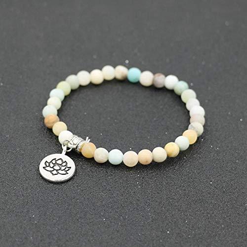 Pulsera De Las Mujeres Natural Pink Stone Om Lotus Beads Pulsera Charm Chakra Yoga Medition Buda Pulseras para Mujer Regalo De Joyería-Plata Lotus-Amazonita