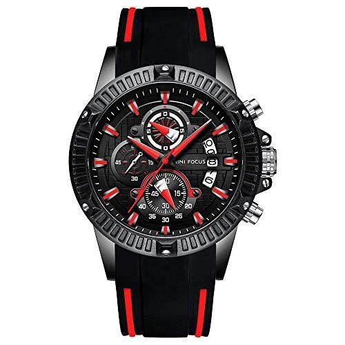 BOFUTE Cronógrafo Multifuncional para Hombres Luminoso Militar Deportes al Aire Libre Correa de Silicona Grande Reloj de Pulsera de Cuarzo(Negro Rojo)