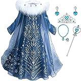 IWFREE Niñas Cosplay Vestido de Princesa Elsa con Capa Vestido de Manga Larga Vestido Largo Disfraz...