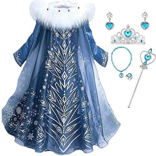 IWFREE Niñas Cosplay Vestido de Princesa Elsa con Capa Vestido de Manga Larga Vestido Largo Disfraz Azul Dulce Disfraz Ceremonia de Fiesta Halloween Navidad 3-9 años 100-150cm