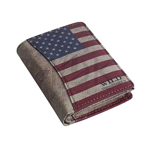 Geldbörse von Wild Things Only !!! - Börse mit USA Flagge Unisex Geldbeutel Portemonnaie Brieftasche - präsentiert von ZMOKA® (USA Motiv)