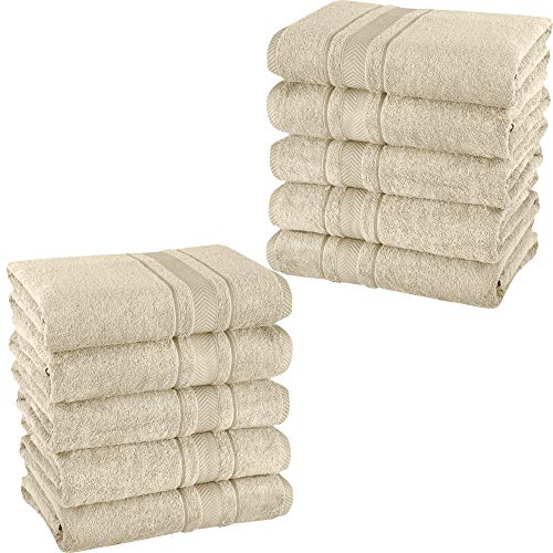 Mixibaby – Juego de 10 toallas de invitados, toallas de mano, toallas de baño, rizo, 100% algodón, color: natural, tipo de producto: toallas de mano 50 x 100 cm