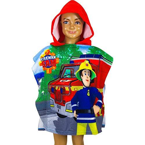 GUIZMAX Poncho de Bain Sam Le Pompier Enfant Serviette Plage