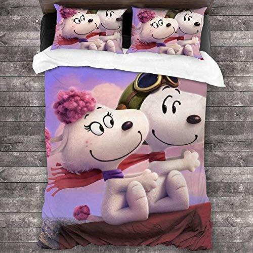 QWAS Snoopy – Juego de ropa de cama 100 % microfibra para niños con dibujos animados y animación, tres piezas, para todas las estaciones (X-1,220 x 240 cm + 50 x 75 cm x 2)