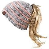 Bonnet Femme Bonnet d'hiver avec Trou Chapeaux de Queue de Cheval Bonnet tricoté Chaud...