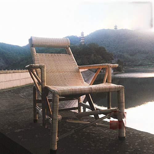 A-myt Cómoda y hermosa silla de mimbre reclinable domicilio, silla de mimbre plegable, oficina, almuerzo, siesta, silla de paseo para personas mayores, simple y generosa (color: lechoso, tamaño: 1)
