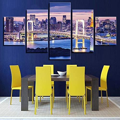 ZDDBD Decoración Moderna Carteles Impresos en HD Tableau Arte de Pared 5 Paneles la Ciudad de Sydney Vista Nocturna Pinturas para el hogar Cuadros modulares Lienzo